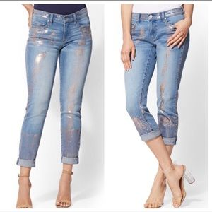 NY&Co Rose gold accent boyfriend jeans